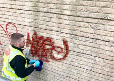 Graffiti cleaning in progress